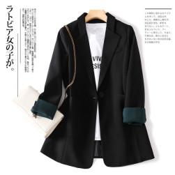 Ukawaii好感度100% シンプル 通勤 ボタン 無地 膝上 長袖 折襟 スーツ ジャケット