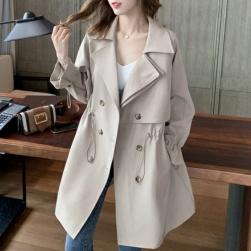 Ukawaii女子マスト!3色 韓国系 ファッション 無地 ギャザー飾り ボウタイ 切り替え 春 トレンチコート