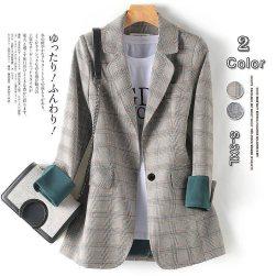 Ukawaii雑誌掲載商品 春夏 韓国風 ファッション チェック 通勤 カジュアル 合わせやすい ジャケット