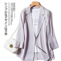 Ukawaii大人気 通勤 ボタン 無地 折り襟 長袖 ショート丈 レディーススーツ
