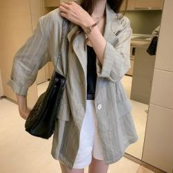 Ukawaii韓国の人気爆発 薄手 ストラップ柄 長袖 折り襟 レディーススーツ