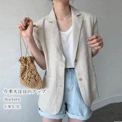 Ukawaii 今季大注目のアップ 定番 シングルブレスト 切り替え 五分袖 折り襟 綿麻 レディース スーツ