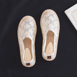 Ukawaii通気性抜群 メッシュ プリント 履きやすい 草編み 履きやすい フラットシューズ