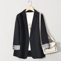 Ukawaii高品質 折襟 切り替え 長袖 通勤 ショート丈 ボタン 無地 レディーススーツ