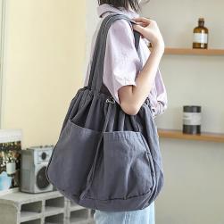 Ukawaiiしっかり シンプル 無地 2色 手持ち カジュアル 大容量 合わせやすい ショルダーバッグ
