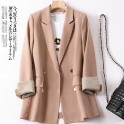 Ukawaii 着回し力抜群 気質アップ 着瘦せ 韓国風 シングルブレスト 配色 切り替え 通勤 合わせやすい スーツジャケット