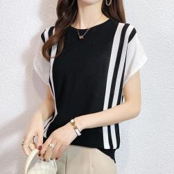 Ukawaii 薄手 人気爆発 レディース 可愛い 通勤 ファッション 配色 半袖 ニット