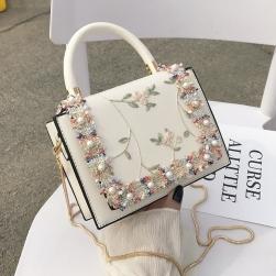 Ukawaii 今季注目 花刺繍 切り替え マグネット チェーン ショルダーバッグ