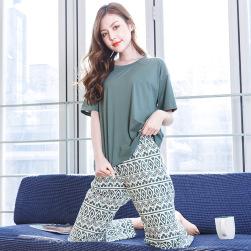 Ukawaii超かわいい 着やすい 無地 グレーネックTシャツ+プリント ウエストゴム パンツ 2点セットアップ