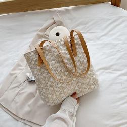 Ukawaiiトレンドアイテム レース 刺繍 ファスナー 大容量 トートバッグ