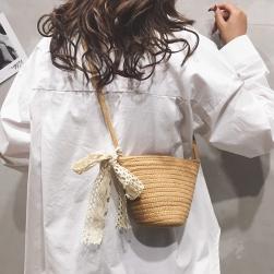 Ukawaii夏らしい 無地 レース リボン付き 草編み 合わせやすい ファスナー レディース ショルダーバッグ