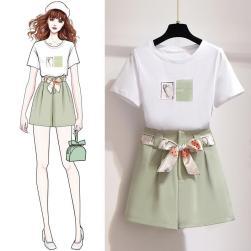 Ukawaii 元気いっぱい プリント 半袖 Tシャツ+無地 ベルト付き ショートパンツ 2点セットアップ