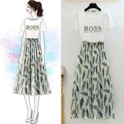 Ukawaii 最愛の一着 プリント 半袖 Tシャツ+ロング丈 葉柄 スカート 2点セットアップ