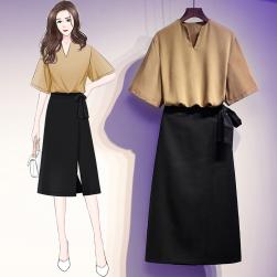 Ukawaii ファッションブラウス+Aラインすね丈ボウタイスカートワンピースセット