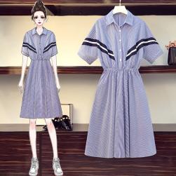 Ukawaii 優しい雰囲気 オシャレ ファスナー 配色 半袖 切り替え デートワンピース
