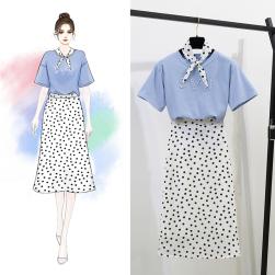 Ukawaii 気質満点 半袖 アルファベット Tシャツ+ドッド柄 Aライン スカート 2点セットアップ