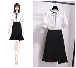 Ukawaii 絶対欲しい スタンドネック リボン付き シャツ+ 無地 フィッシュテール スカート 2点セットアップ