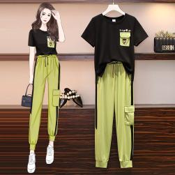 Ukawaii 元気いっぱい 配色 プリント Tシャツ+九分丈 カジュアル パンツ 2点セットアップ