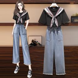 Ukawaii 【単品注文】無地 半袖 Tシャツ+デニム ハイウエスト カジュアルパンツ 2点セットアップ