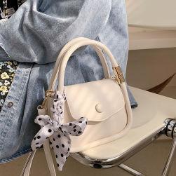 Ukawaiiスウィート 無地 マグネット ドット柄 リボン付き 合わせやすい ショルダーバッグ