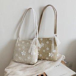 Ukawaii スウィート 花柄 レース 刺繍 大容量 マグネット 可愛い トートバッグ