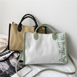 Ukawaii 使いやすい アルファベット 配色 マグネット夏帆布 大容量 トートバッグ