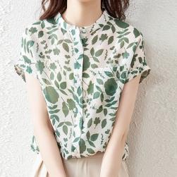 Ukawaii 激安販売中 スウィート プリント スタンドネック 半袖 シャツ