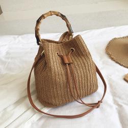 Ukawaii レトロ 無地 草編み 夏ファッション 紐締め トートバッグ