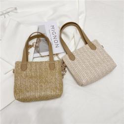 Ukawaii 今季マストバイ 無地 マグネット 草編み 斜め掛け 大容量 トートバッグ