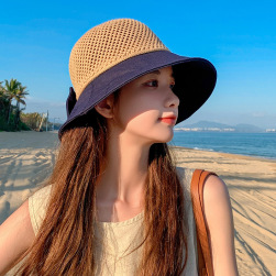Ukawaii 韓国風 おしゃれ ファッション 切り替え お出かけ 草編み 帽子