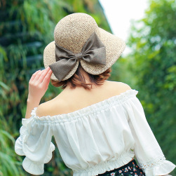 Ukawaii 絶対可愛い 全4色 草編み リボン サークル 春夏 帽子