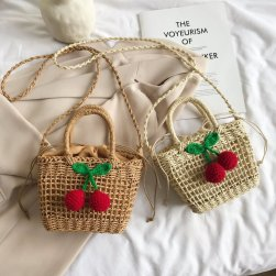 Ukawaii 新作入荷 草編み 可愛い チェリー 紐締め 夏 ショルダーバッグ