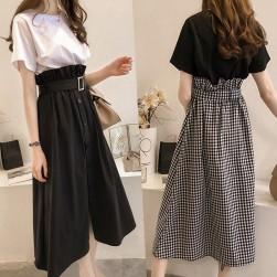 Ukawaii おしゃれ度アップ ファッション 韓国系 無地Tシャツ+ ハイウエスト チェック柄 スカート 2点セットアップ