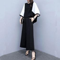 Ukawaii 定番シンプル配色ラウンドネックシャツ+ワイドパンツ大きいサイズ2点セットアップ