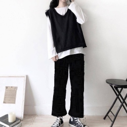 Ukawaii 【単品注文】元気いっぱい ベスト付き 長袖 Tシャツ+ゆったり ガウチョパンツ 3点セットアップ