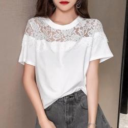 Ukawaii 大好評 ファッション 人気 オシャレ 無地 レース 切り替え 半袖 Tシャツ