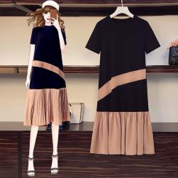 Ukawaii 超人気 シンプル プラスサイズ プルオーバー 半袖 切り替え カジュアルワンピース