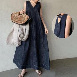 Ukawaii おしゃれ度アップ ファッション ノースリーブ ゆったり Aライン カジュアルワンピース