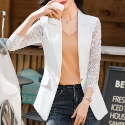 Ukawaii 美人度アップ 透かし彫り エレガント 通勤ファッション 切り替え 折襟 レディーススーツ