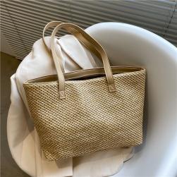 Ukawaii デザイン性抜群 草編み 大容量 カジュアル OL/通勤 シンプル トートバッグ