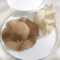 Ukawaii 大きなひさし ビーチハット 女性 夏 休暇 日よけします 麦わら帽子