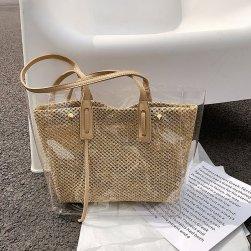 Ukawaii さっぱりイメージ 無地 クリア 草編み 親子バッグ 大容量 トートバッグ
