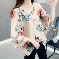 Ukawaii 絶対流行 ファッション 花柄 薄手 プリント スピーカースリーブ ブラウス