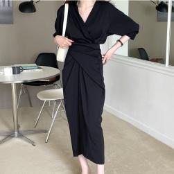 Ukawaii 目を奪われる 韓国風 ファッション デザイン性 ギャザー飾り ウエスト締め 着瘦せ ワンピース
