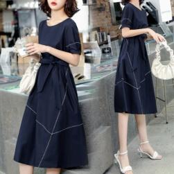 Ukawaii 美人度アップ シンプル エレガント 韓国風 ファッション 通勤 切り替え 配色 Aライン デートワンピース
