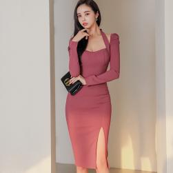 Ukawaii No.1 人気商品 韓国風 ファッション スリム スリット セレブリティ 気質 セクシーワンピース