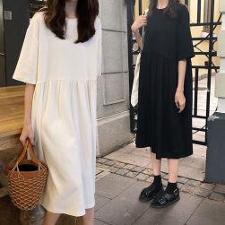 Ukawaii オーバーサイズ 女の子 かわいい お出かけ 無地 半袖 ゆったり デートワンピース