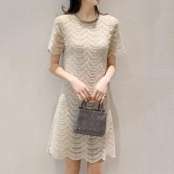 Ukawaii エレガント 人気 上品なシルエット 無地 半袖 ドレス レースワンピース
