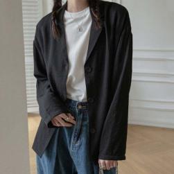 Ukawaii 定番シンプル 冷房対策 薄手 無地 Vネック シングルブレスト スーツ