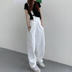 Ukawaii【S-5XL】一枚で視線を奪う ファッション ボタン レギュラー丈 デニム 無地 カジュアルパンツ
